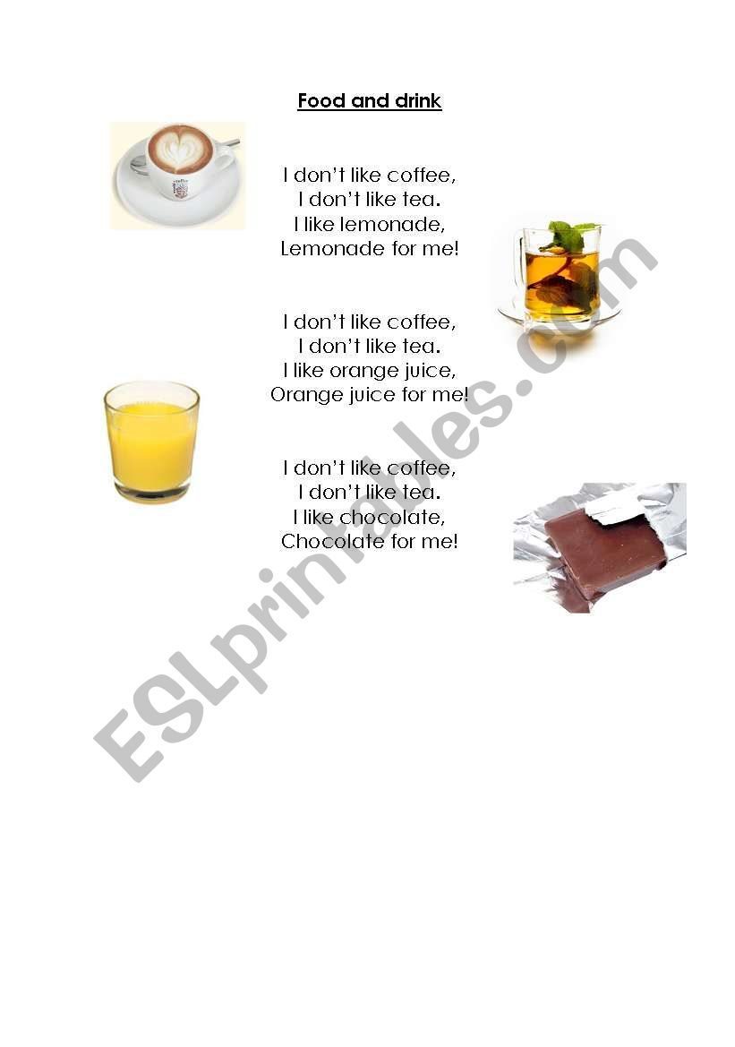 Food and drink song worksheet