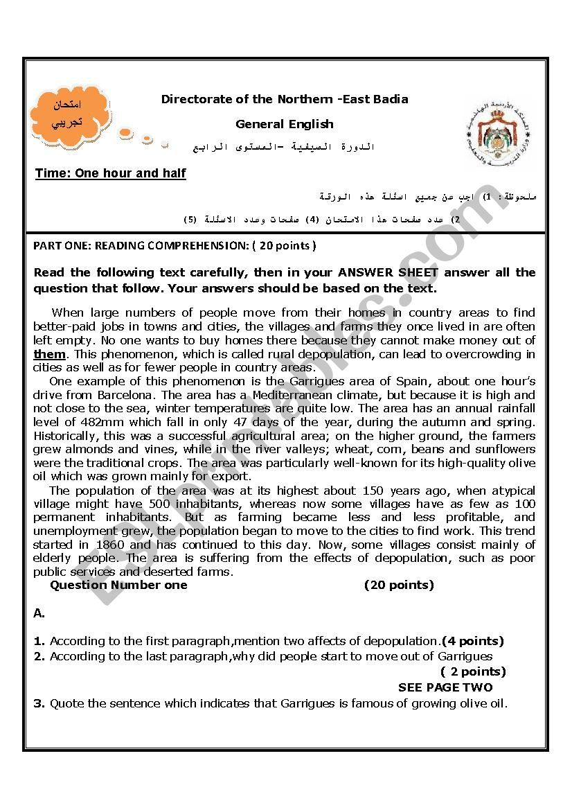 - 12th Grade Final Exam - ESL Worksheet By Youness