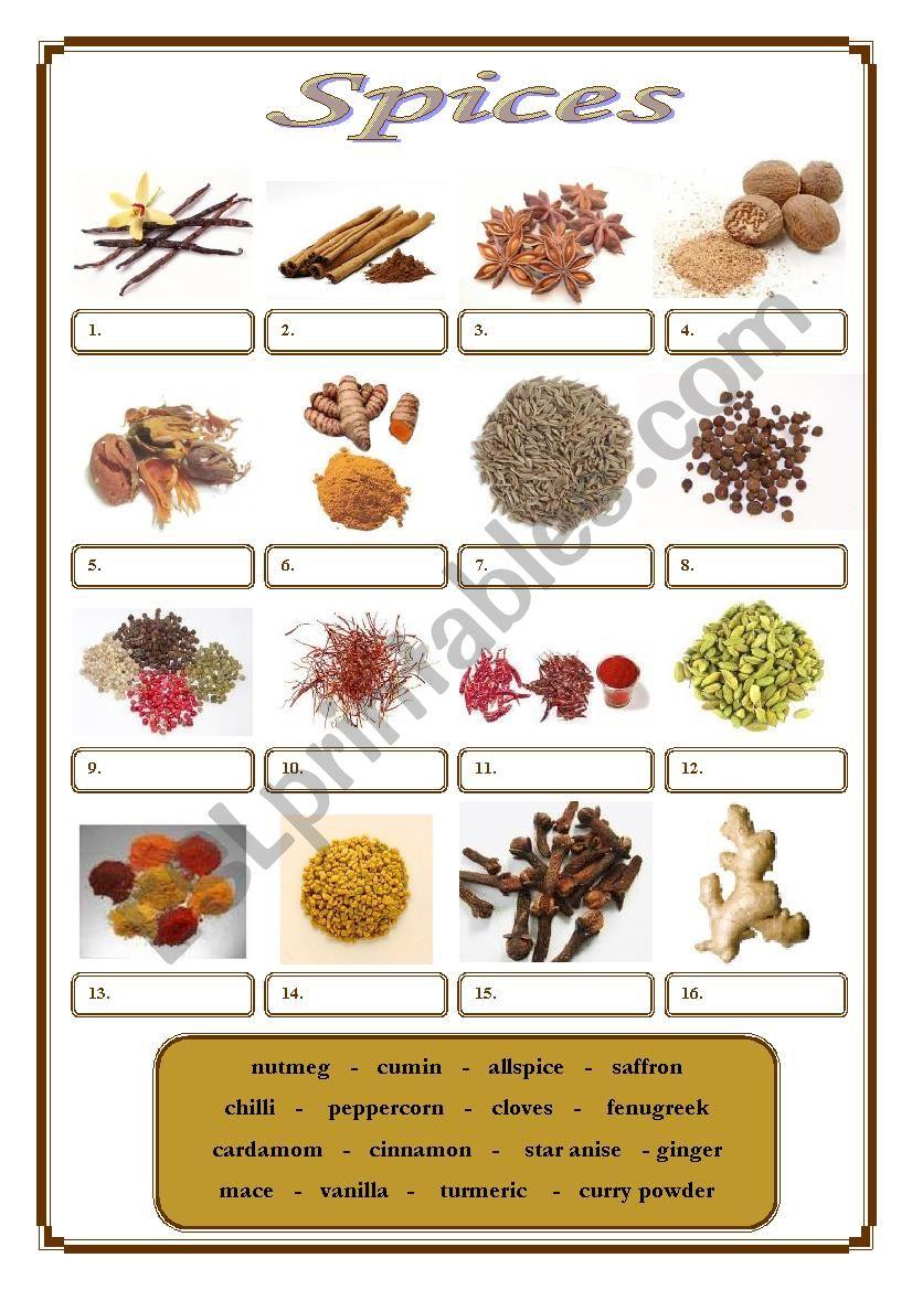 Spices worksheet