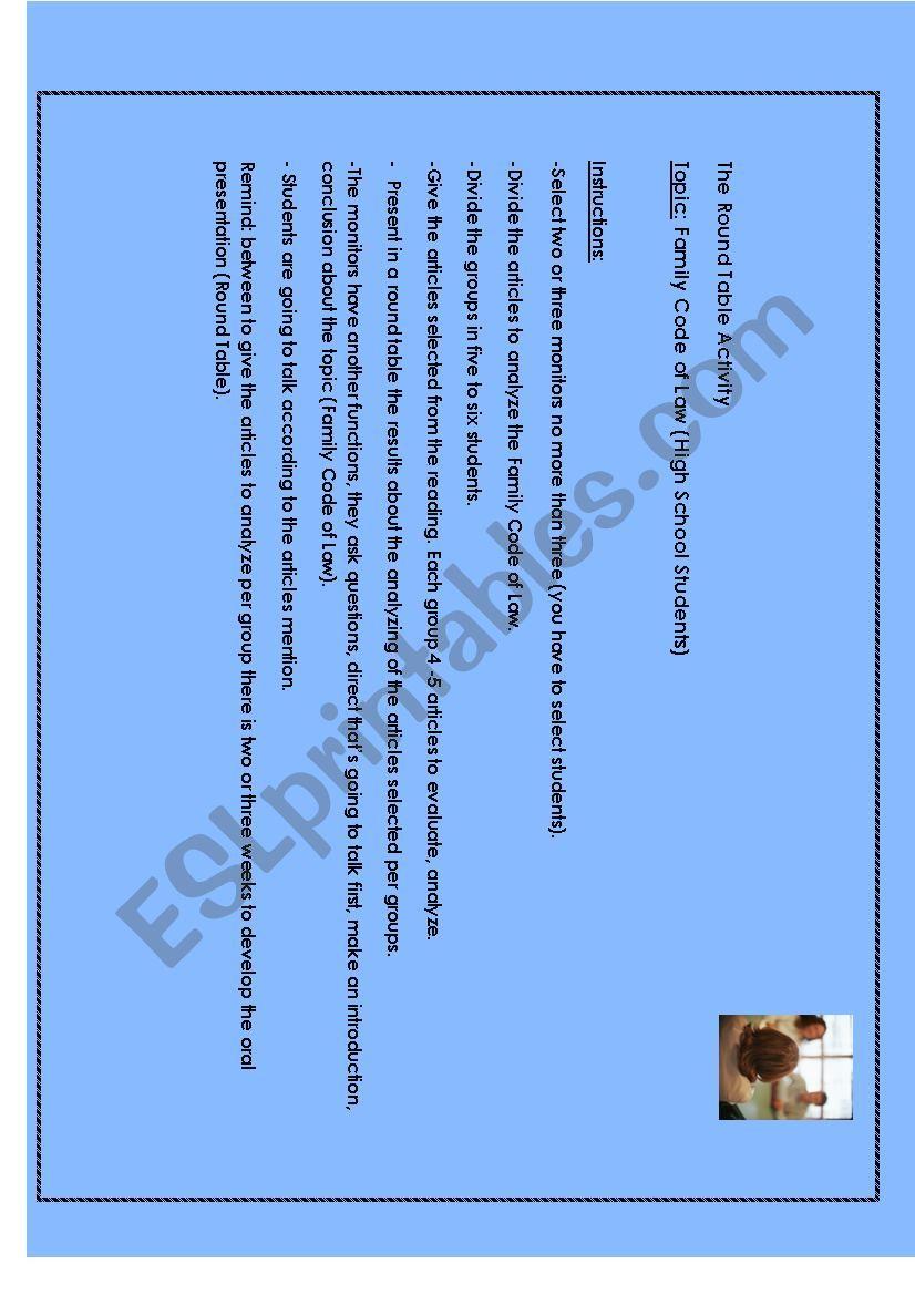 Round Table worksheet