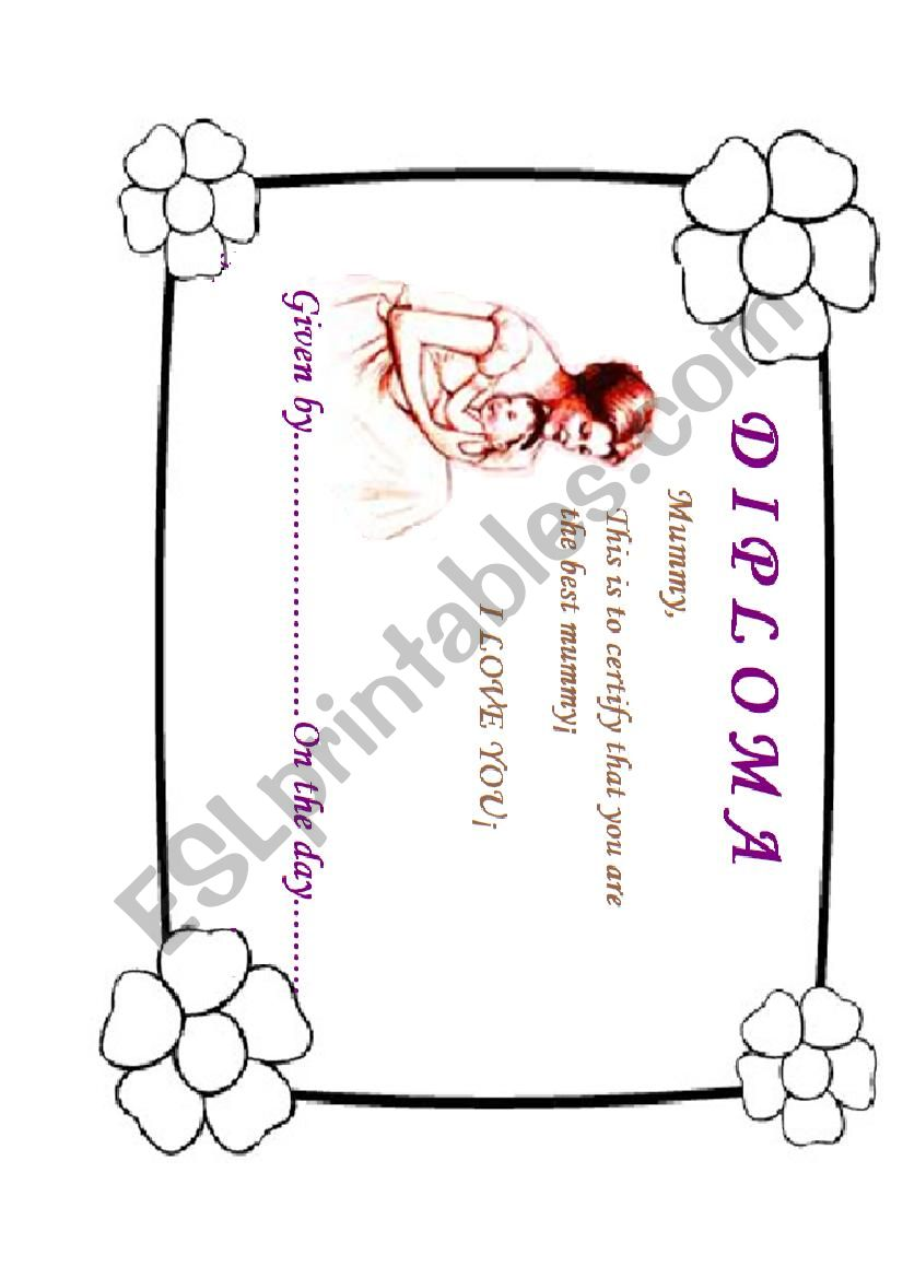 Mother´s day diploma worksheet