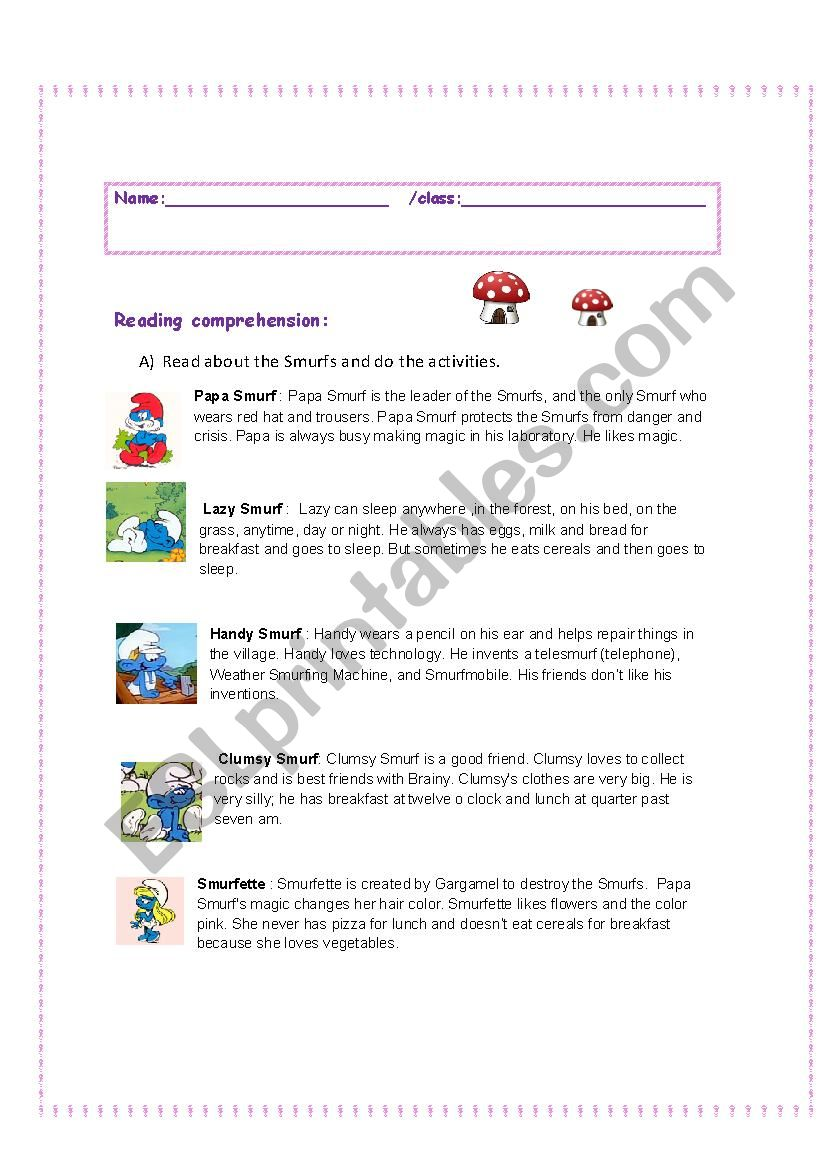 The Smurfs: Reading, language and writing ws