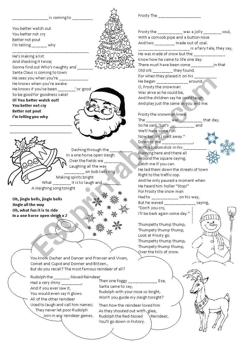 Christmas songs - gap filling worksheet