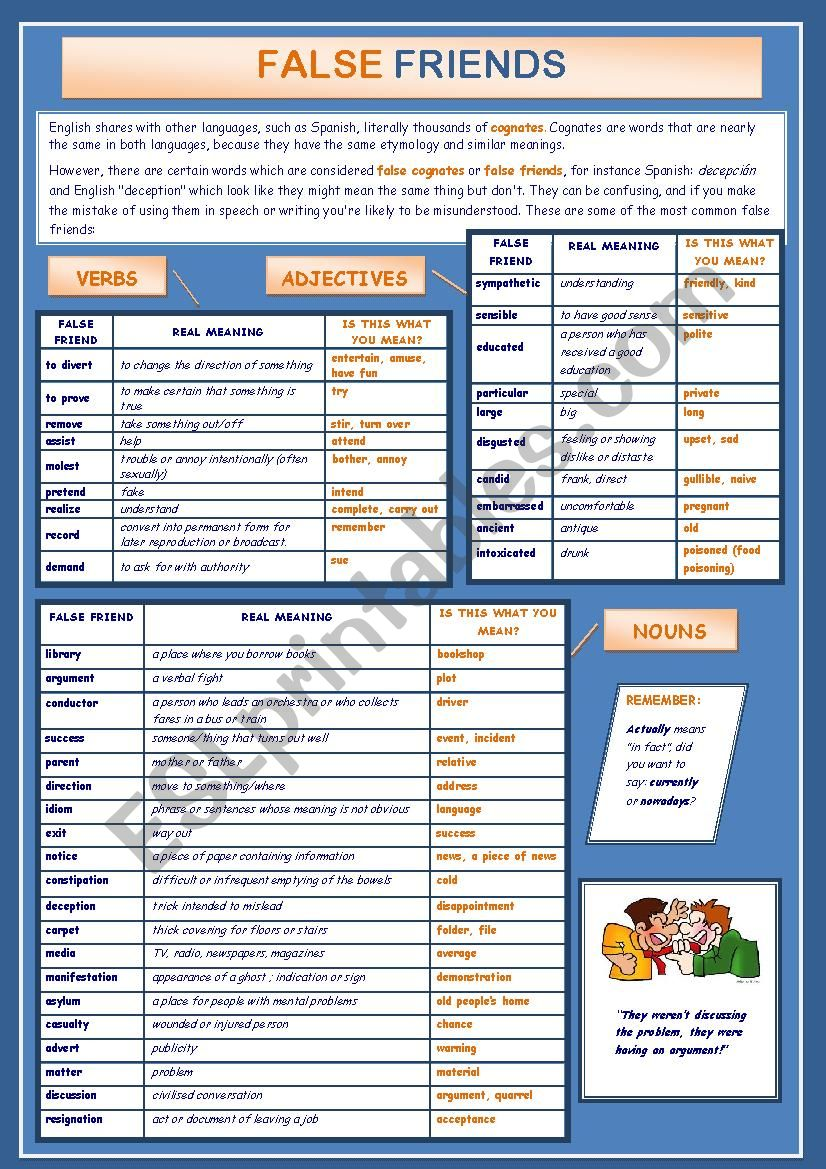 FALSE FRIENDS worksheet