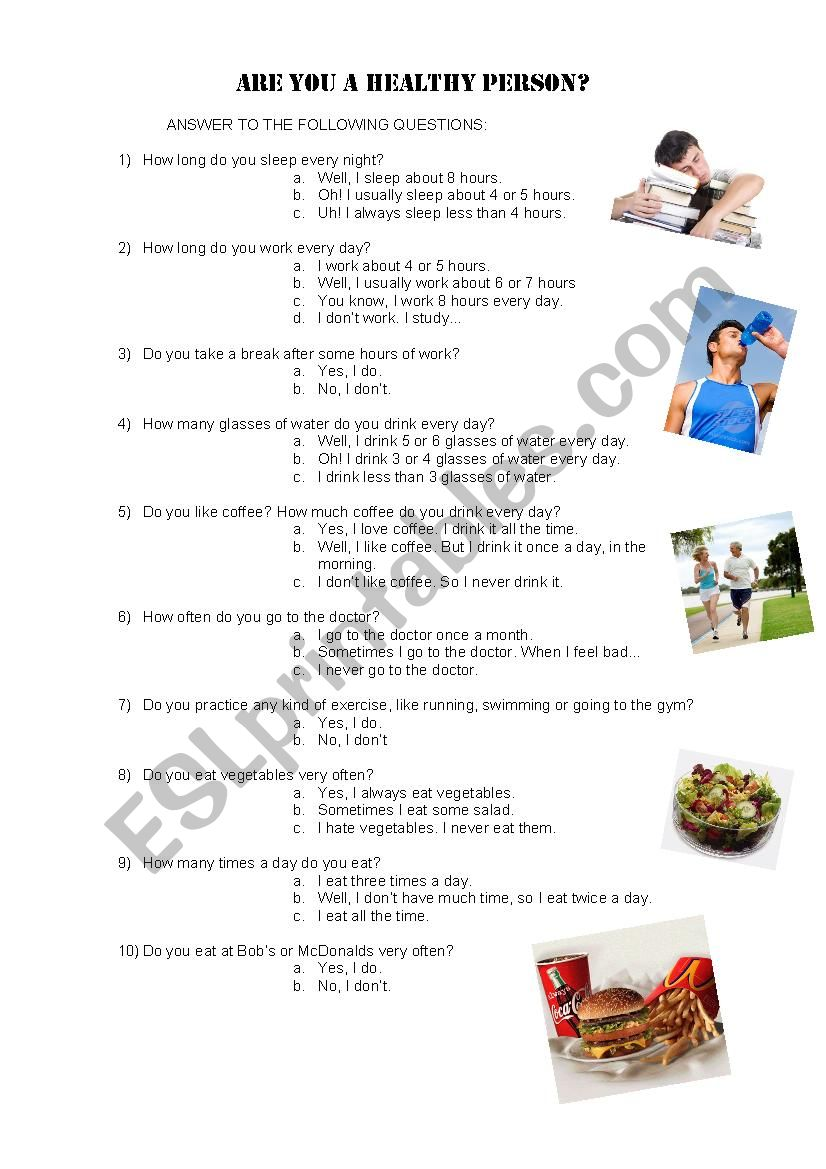 Are You a Healthy Person? worksheet