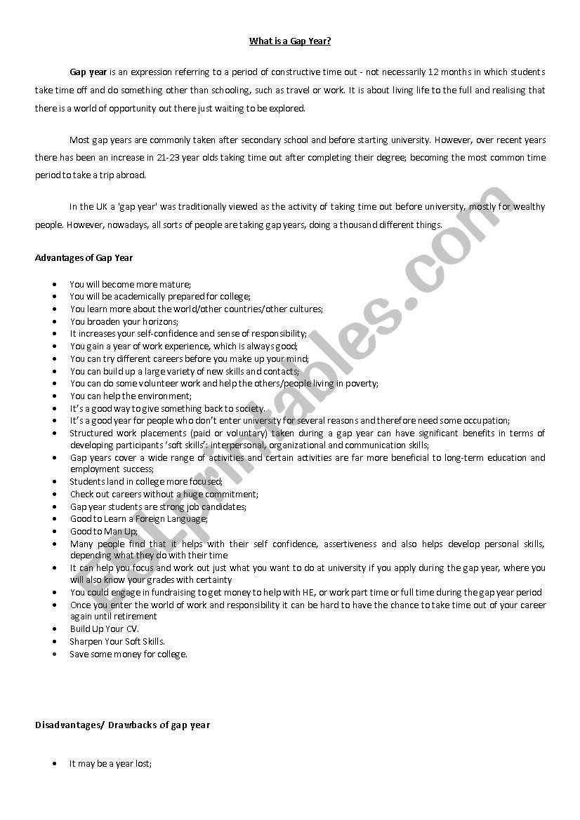Gap Year - useful information worksheet