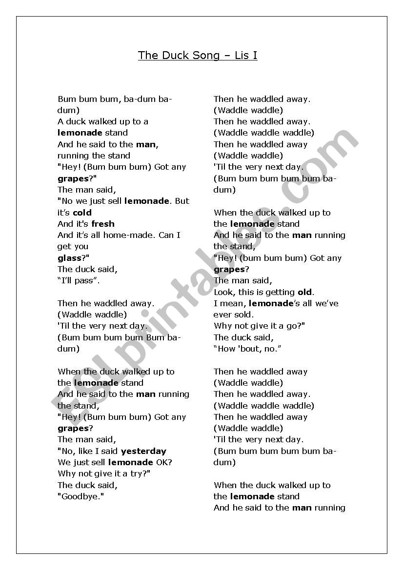 The duck song worksheet