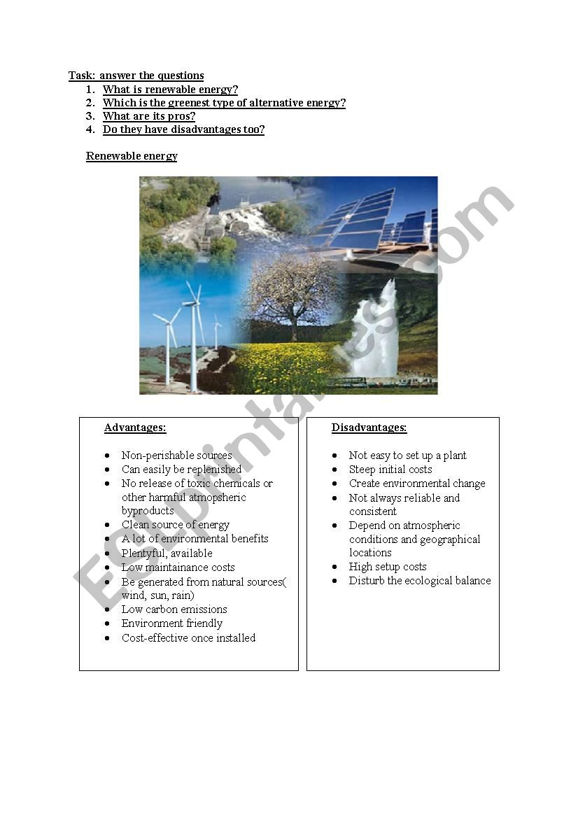 alternative energy worksheet