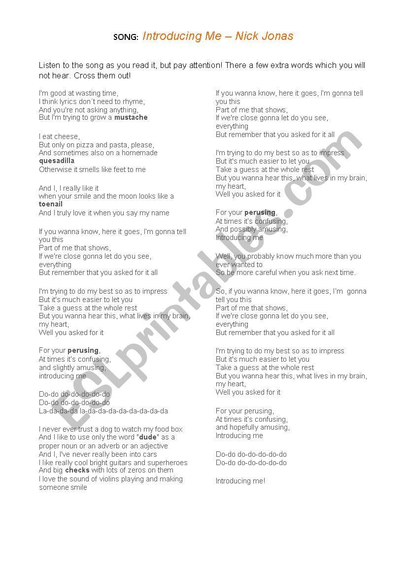 English worksheets: Song: