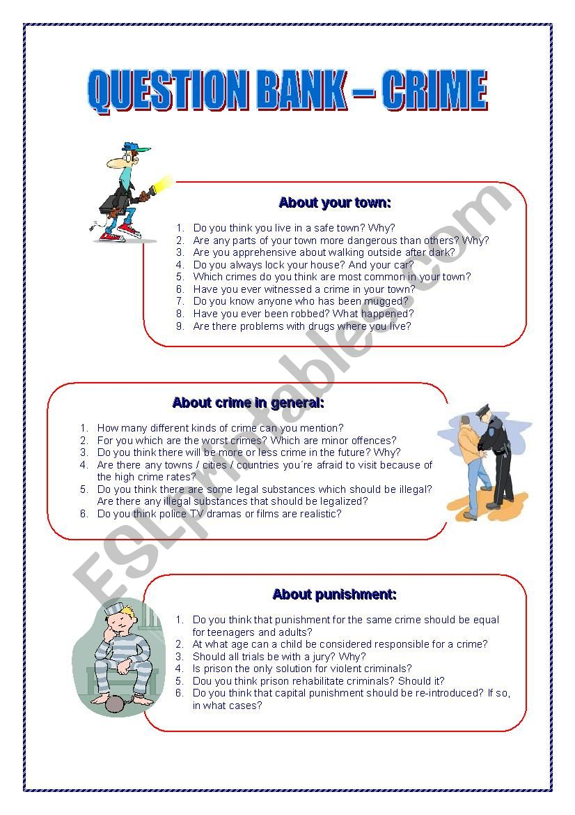 QUESTION BANK CRIME worksheet