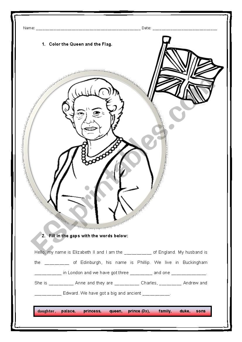 The Royal Family worksheet