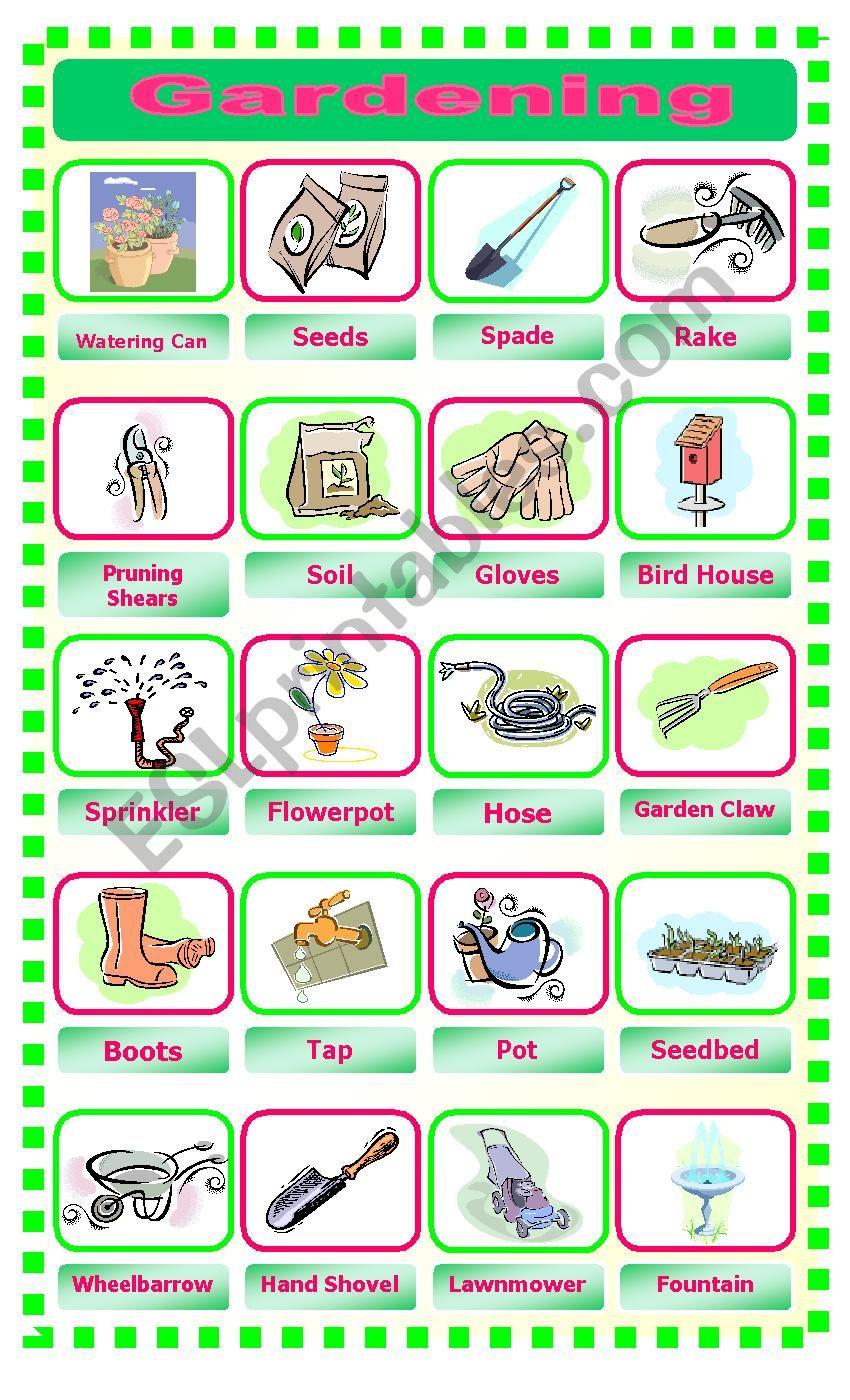 Gardening Pictionary worksheet