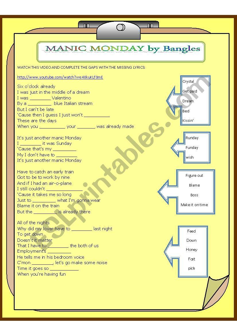 MANIC SUNDAYS by the Bangles worksheet