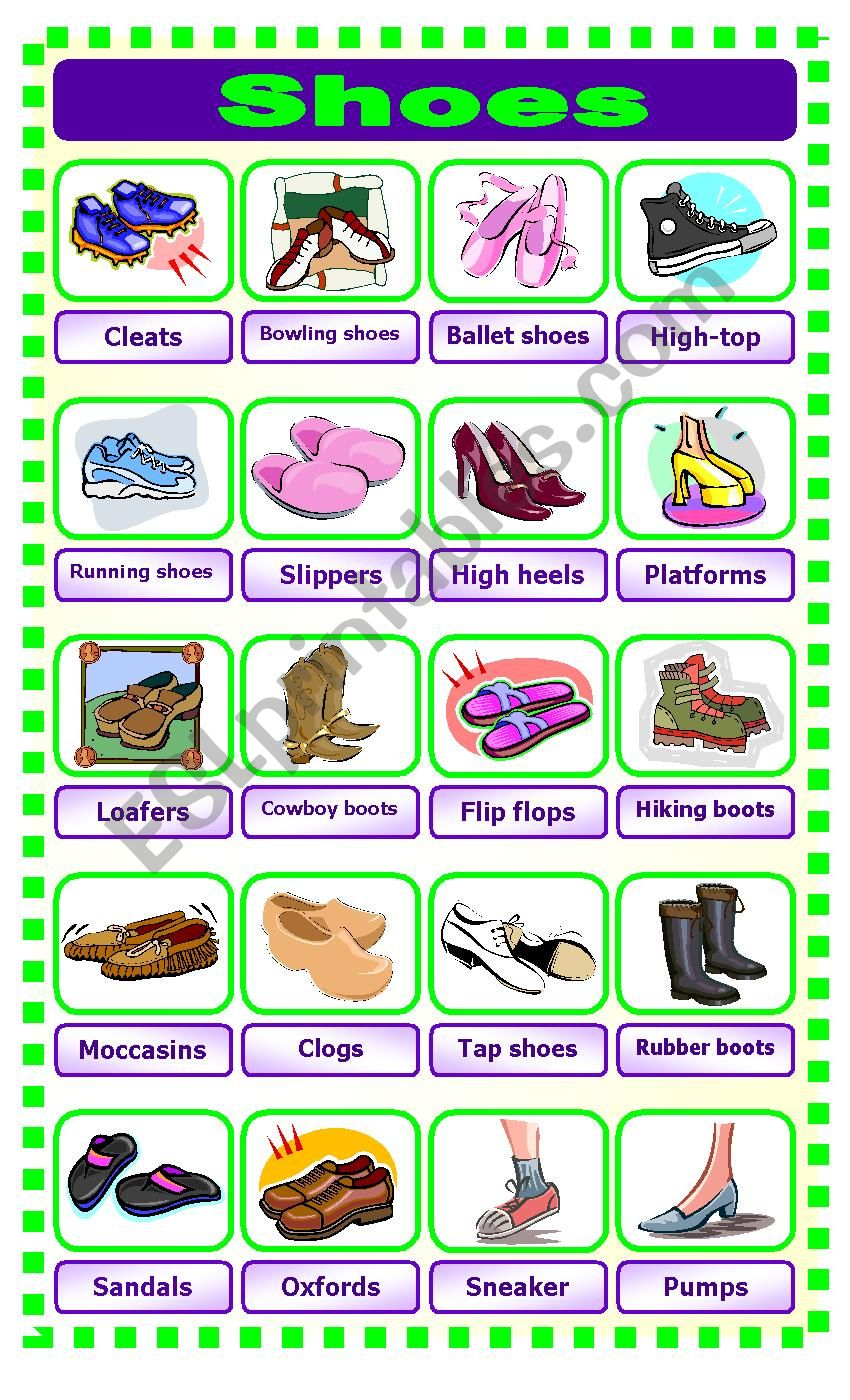 Shoes Pictionary worksheet