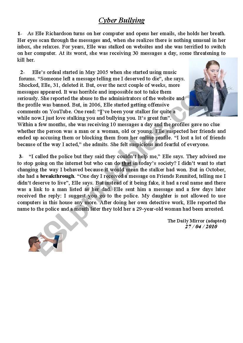 - Cyber Bullying - Reading Comprehension - ESL Worksheet By Gaddeh