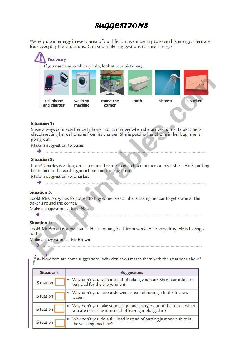 saving energy worksheet