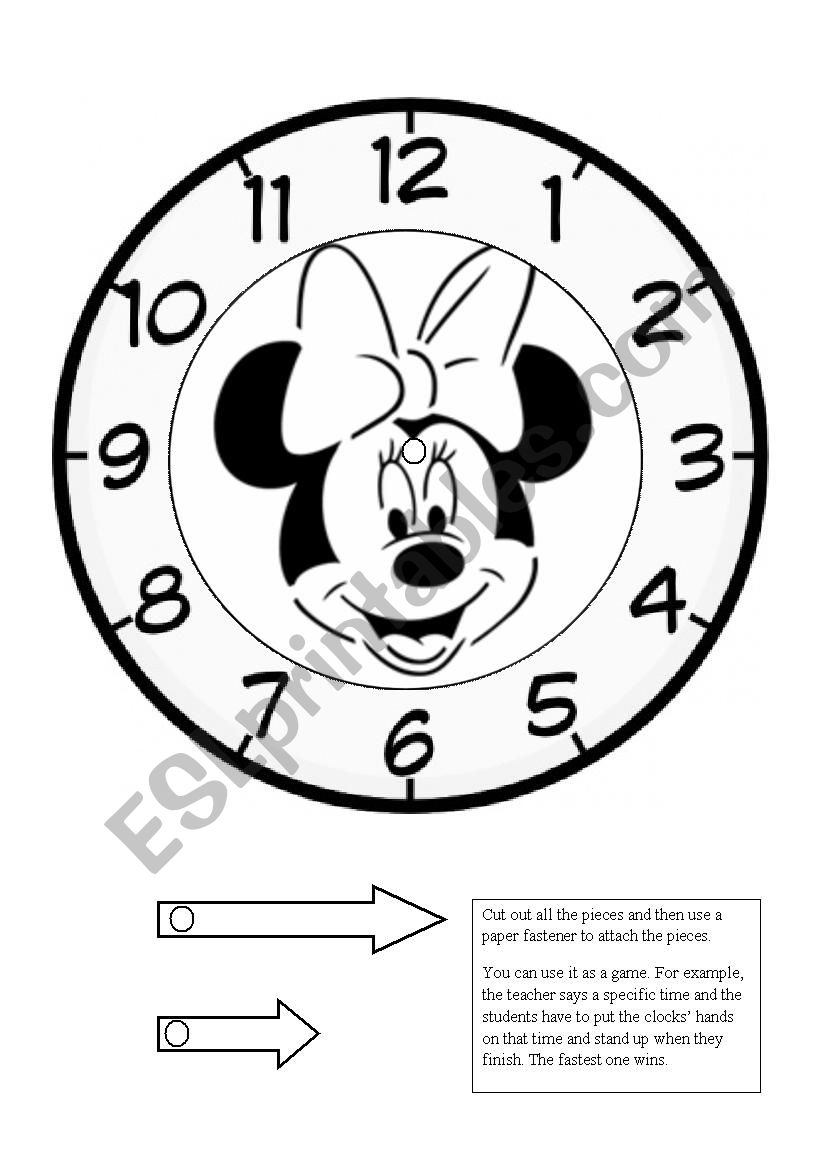 Minnie Mouse clock game - ESL worksheet by chantalpcosta