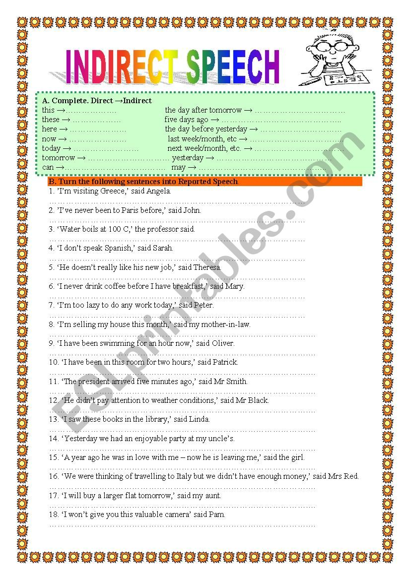 indirect reported speech 1 practice 2 pages esl worksheet by veronika74. Black Bedroom Furniture Sets. Home Design Ideas