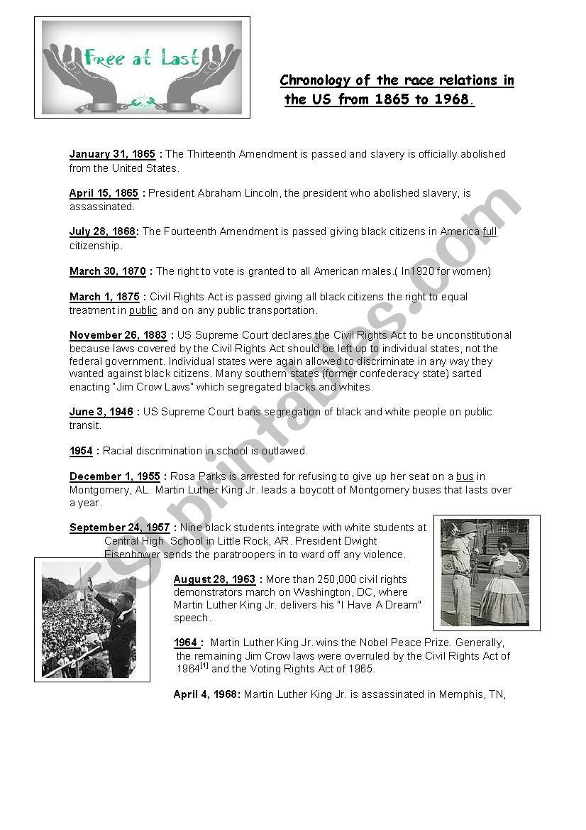 Civil Rights Timeline Esl Worksheet By Obindidon