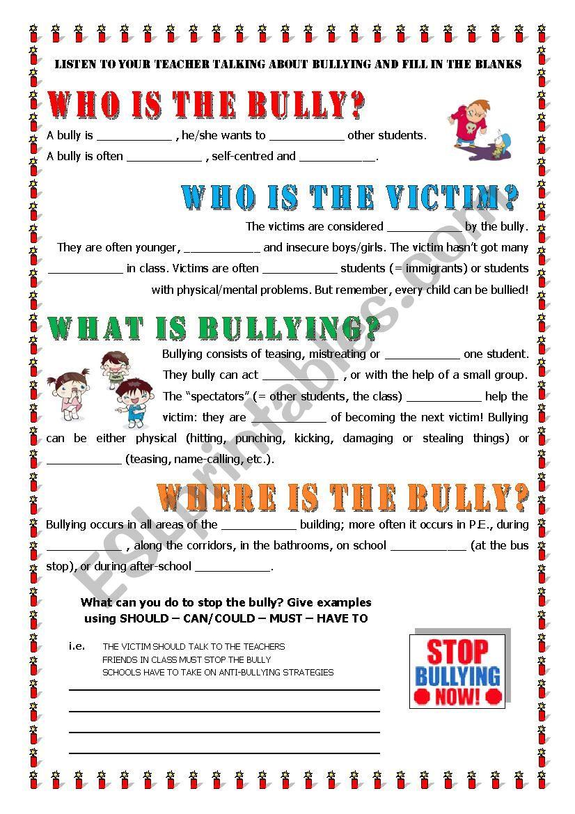 Bullying worksheets pdf