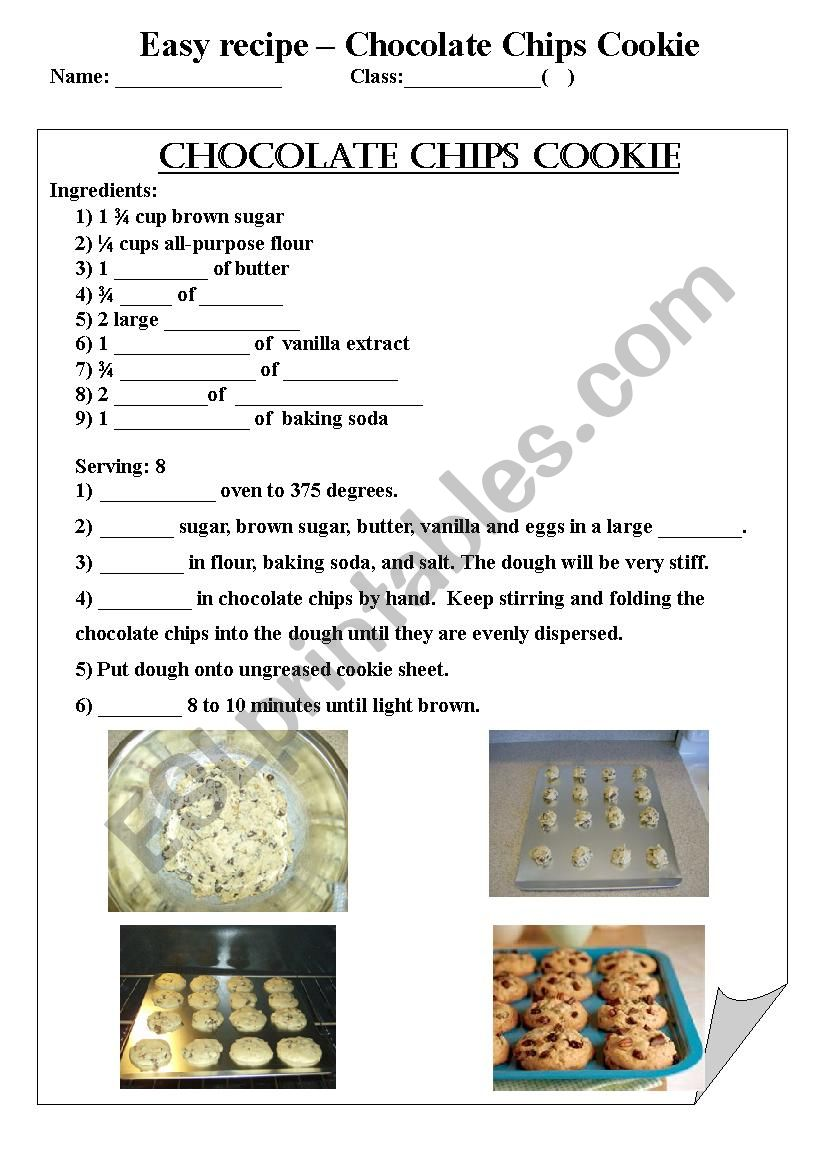 Worksheet Parts Of A Recipe : English worksheets chocolate chips cookie recipe