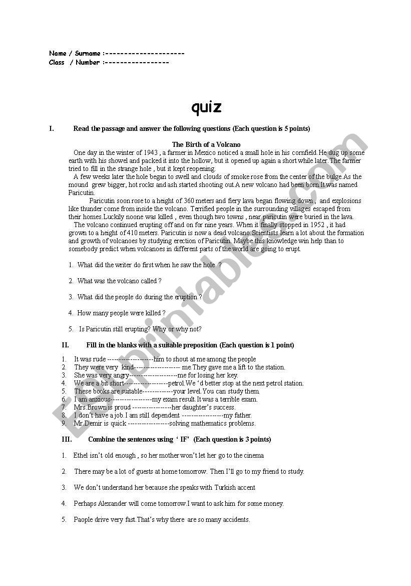 - English Worksheets: Read The Passage And Answer The Following