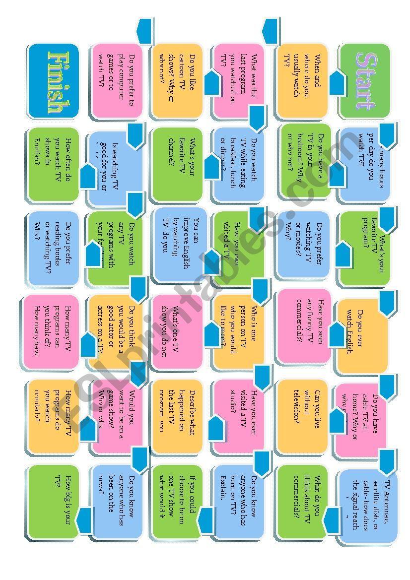 Television Board Game worksheet