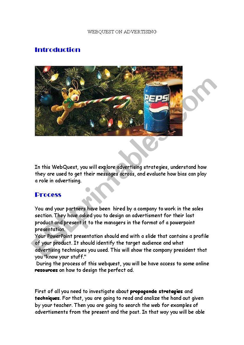 webquest on advertising worksheet