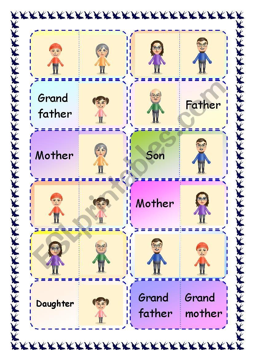 Family Dominoes worksheet