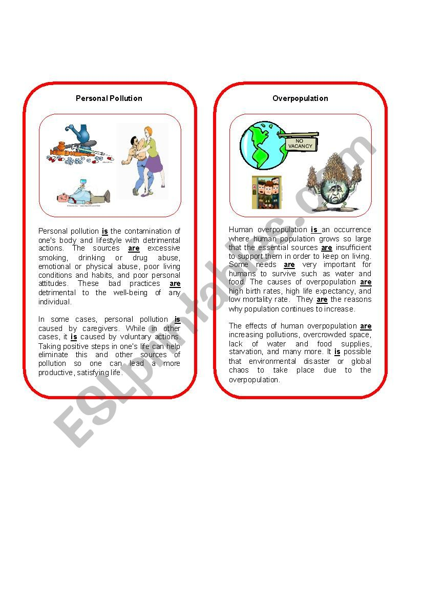 Environmental Threat 8  ( personal pollution and overpopulation)