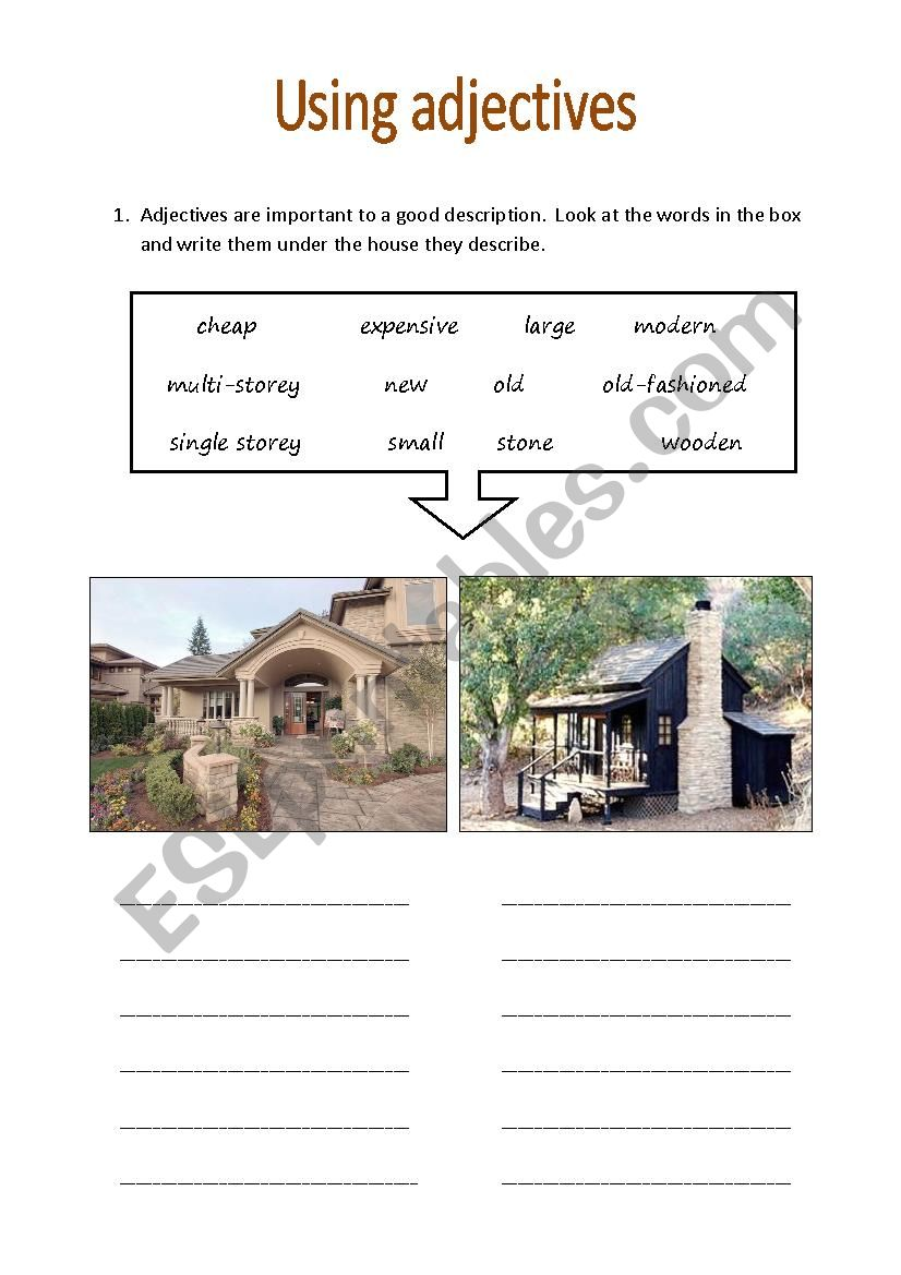 Describing houses using adjectives - ESL worksheet by IbuLulu