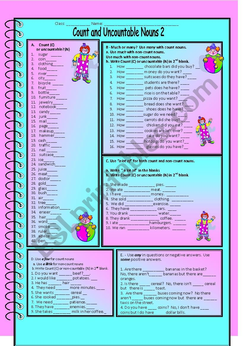 Count and Uncountable Nouns worksheet