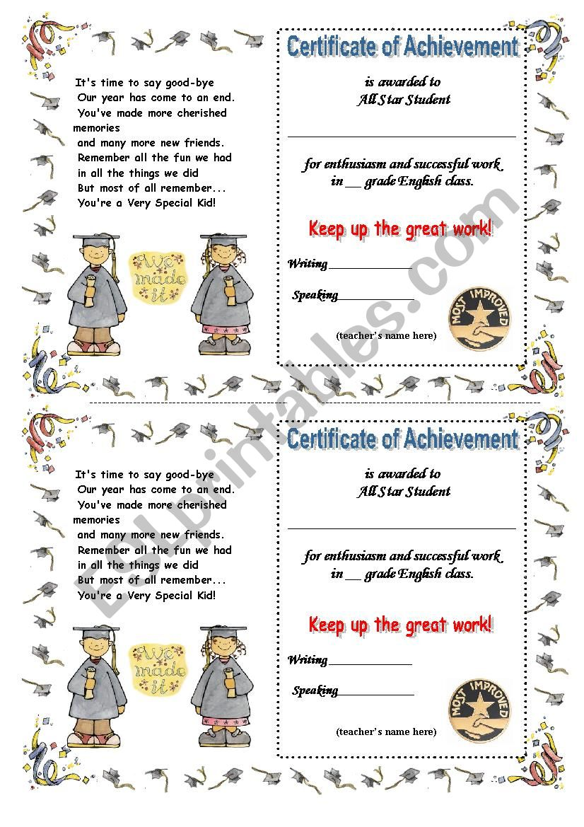 a cute end-of-schoolyear certificate