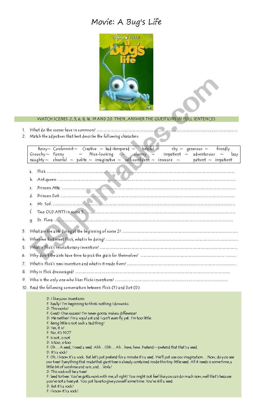 A Bug´s Life Movie Worksheet - ESL worksheet by