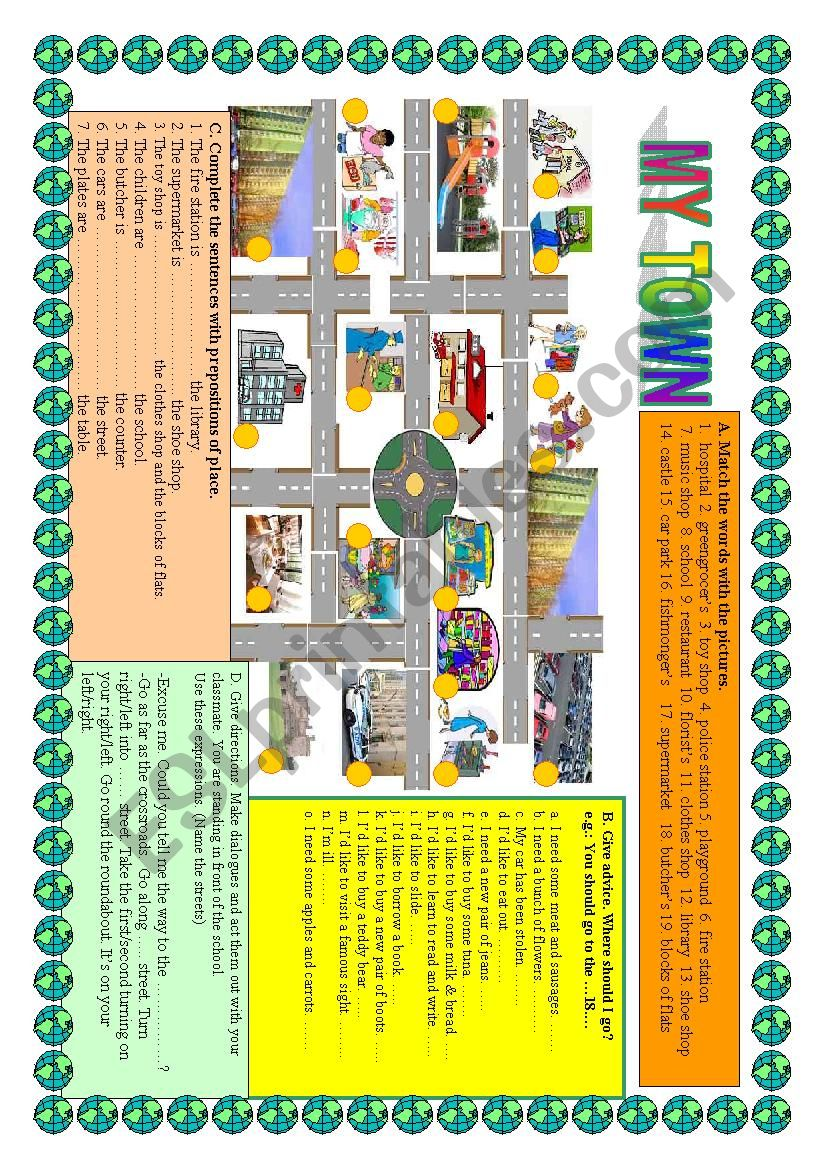 MY TOWN - a map, buildings, prepositions of place, giving directions ...