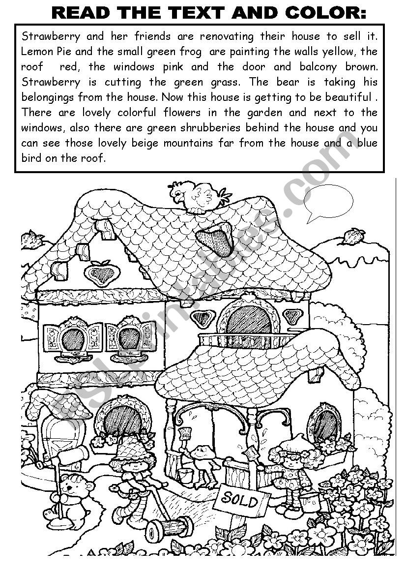 READ THE TEXT AND COLOR worksheet