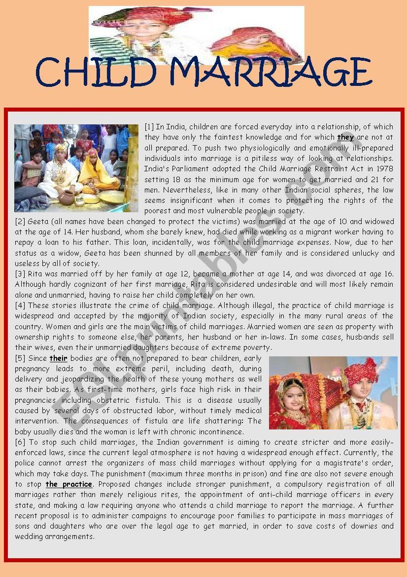 Child Marriage worksheet