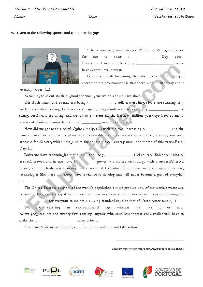 Earth´s Day speech worksheet