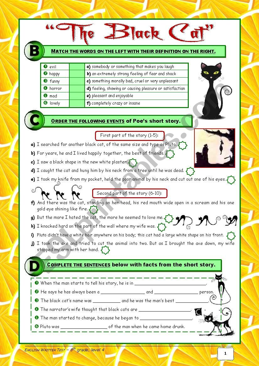 TEST The Black Cat + Food + At a Restaurant (8th grade) 2/2 + correction