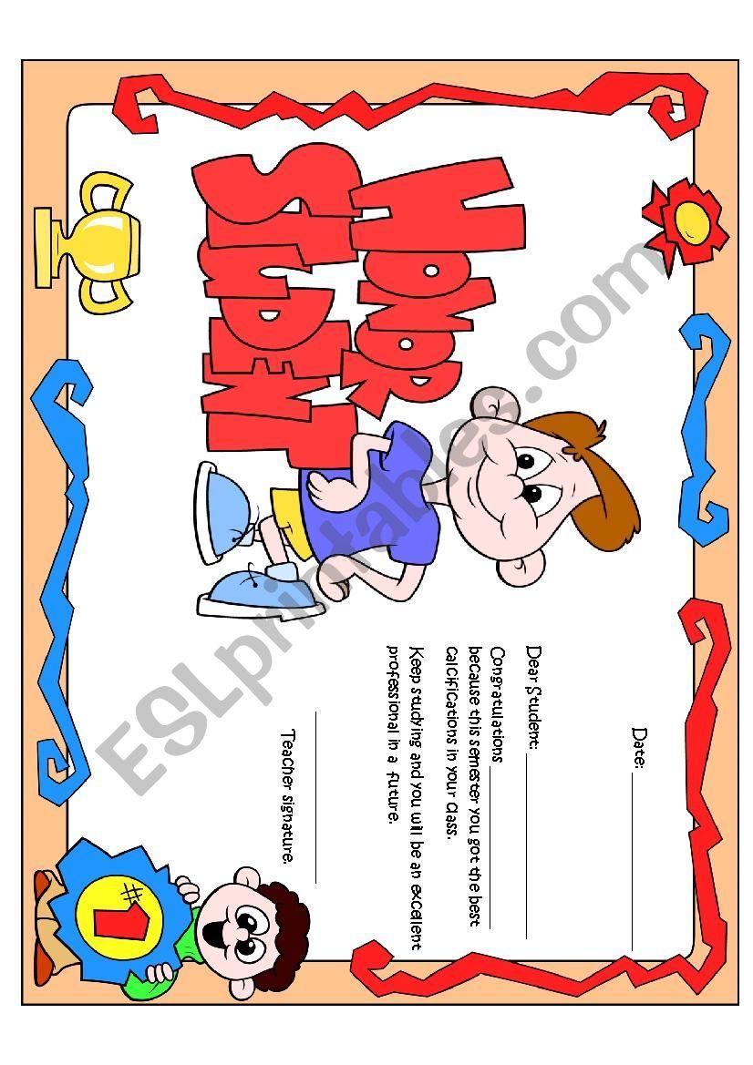 Honor Certificate for boys worksheet