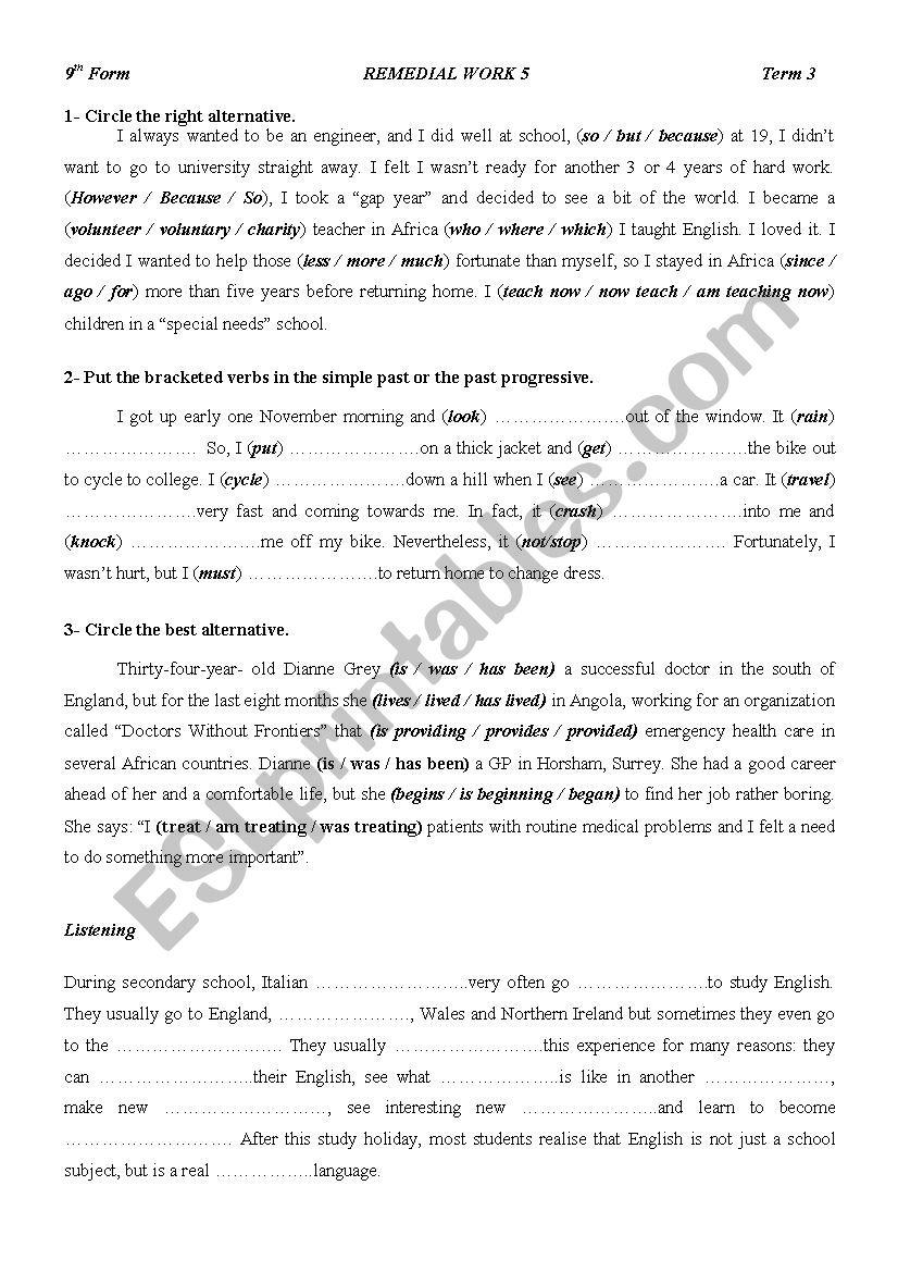 9TH Form Remedial Work worksheet