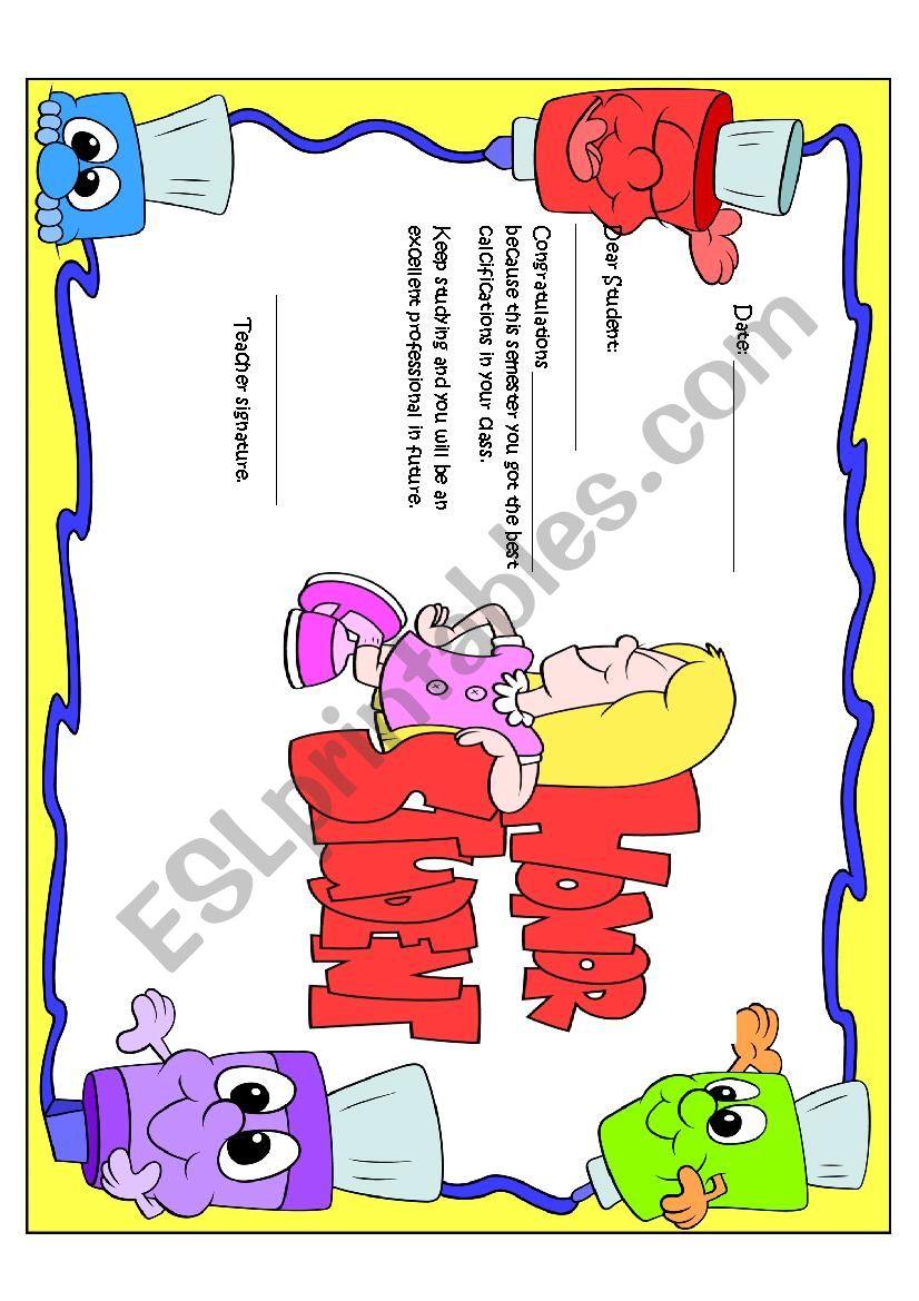 Honor Certificate for girls worksheet