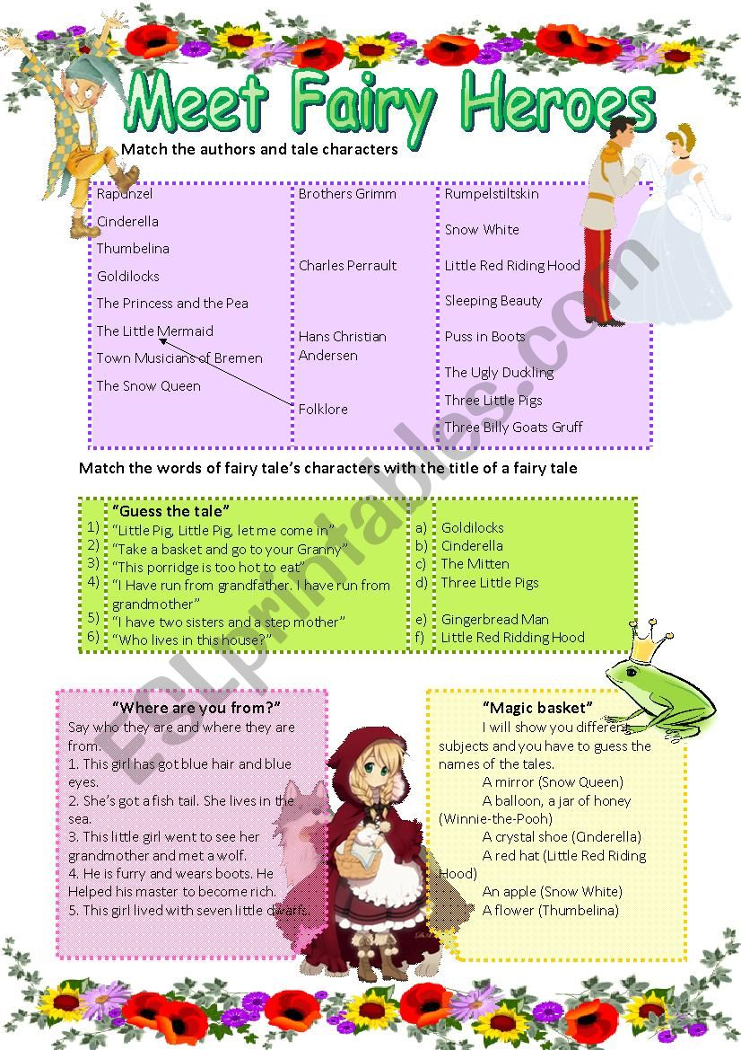 Meet Fairy Heroes worksheet