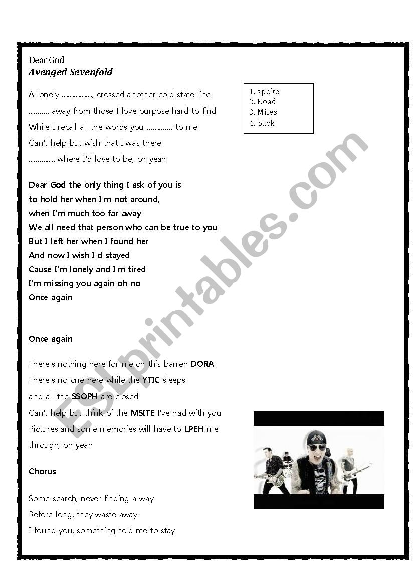 Song: Dear God by Avenged Sevenfold - ESL worksheet by VeronicaW