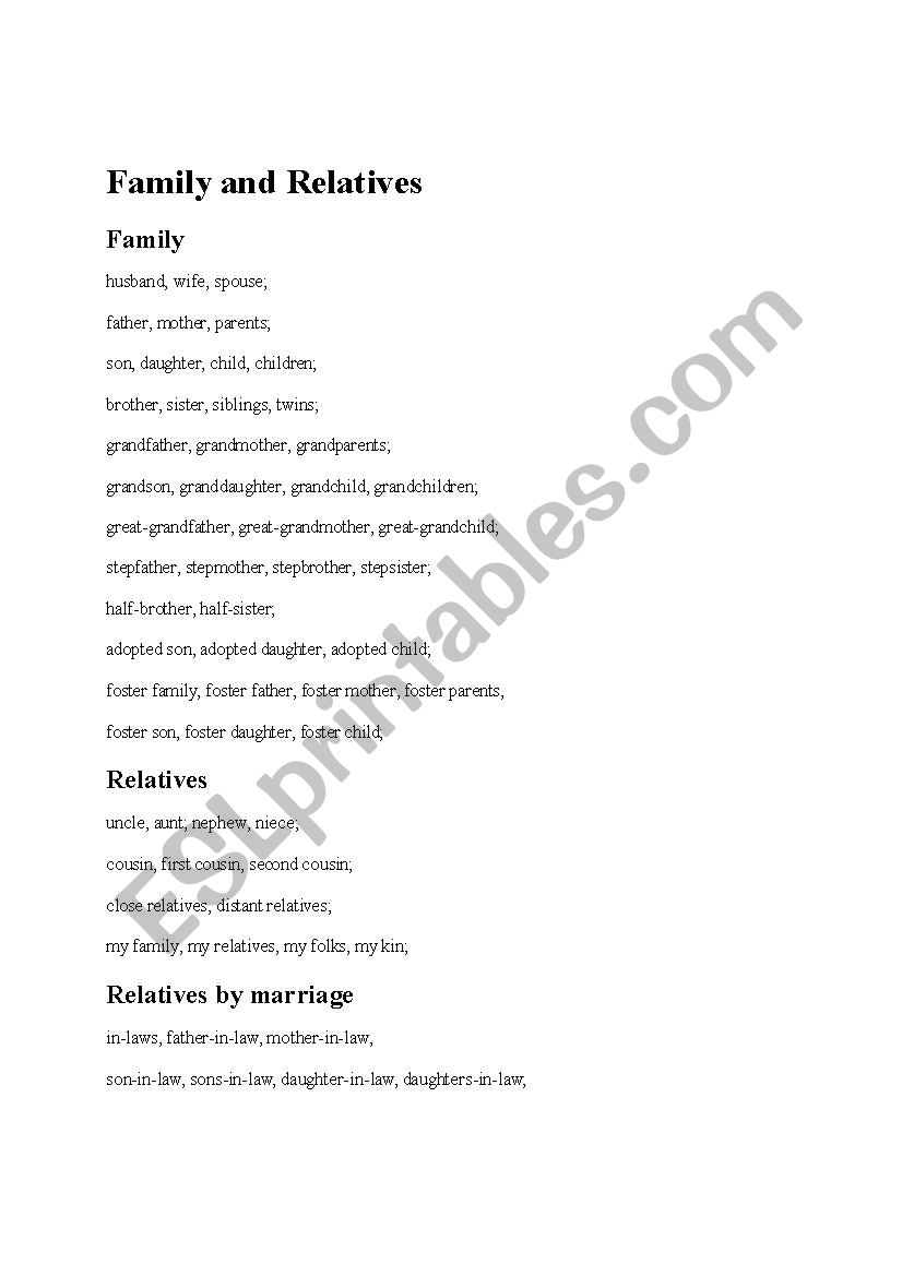 Relatives worksheet