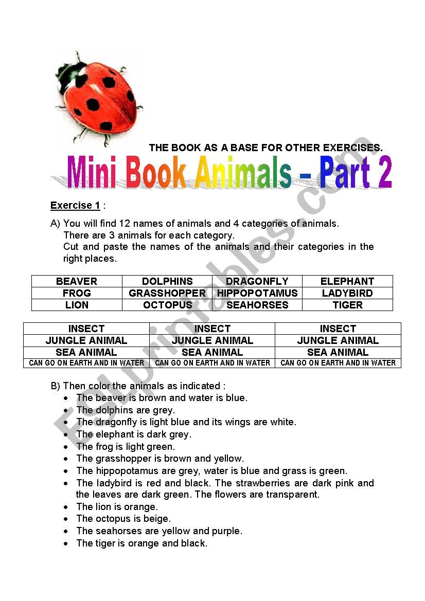 mini book animals 2 (insects, jungle animals, sea animals, can go on earth and in water) - part 1
