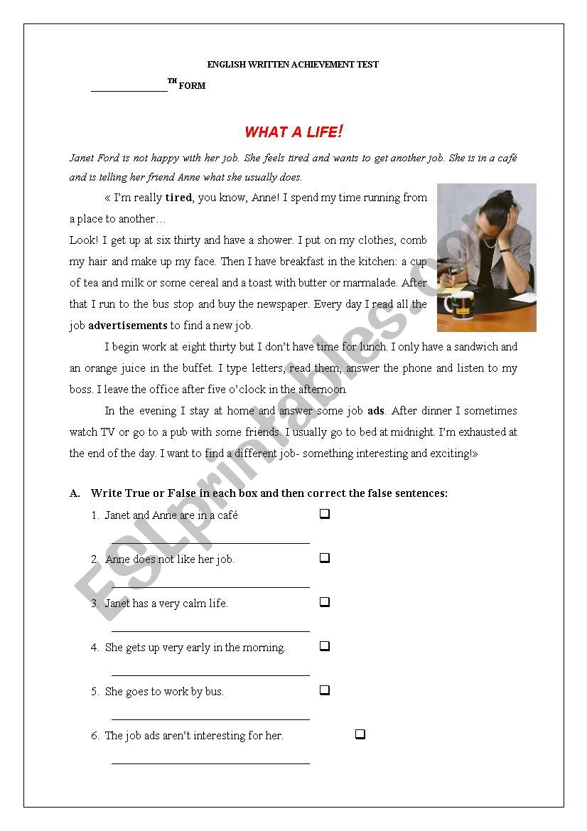 TEST- dAILY ROUTINE worksheet