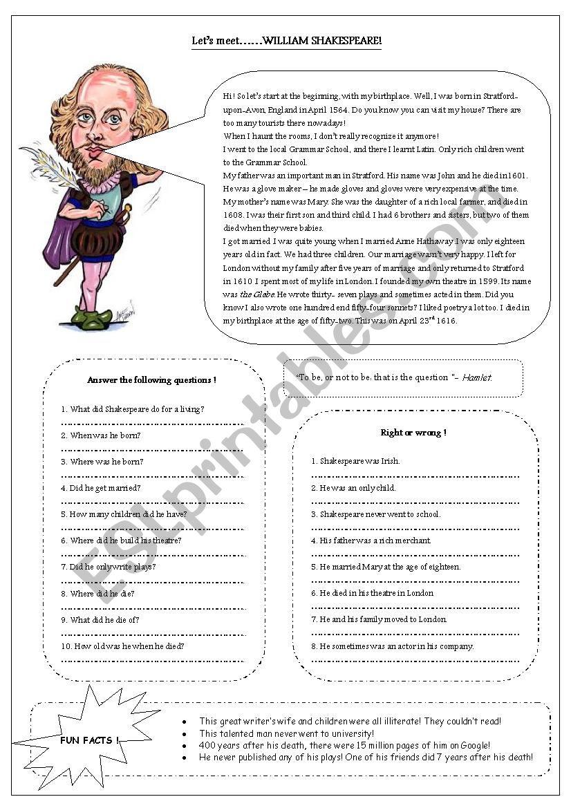let´s meet Shakespeare worksheet