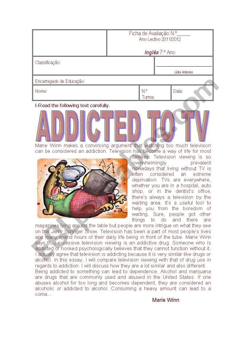 TV ADDICTIONS worksheet