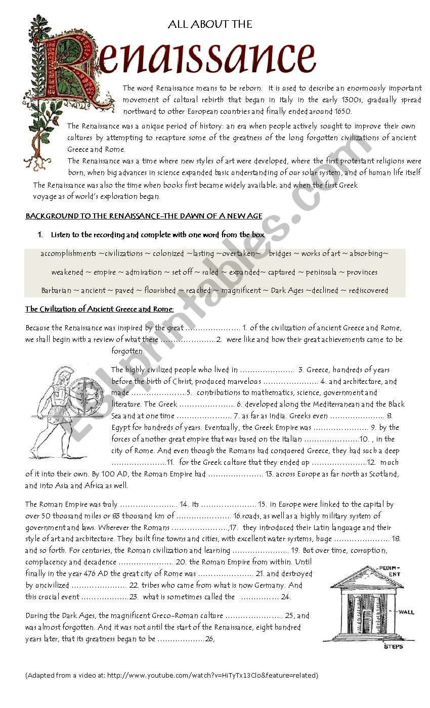Background To The Renaissance ESL Worksheet By